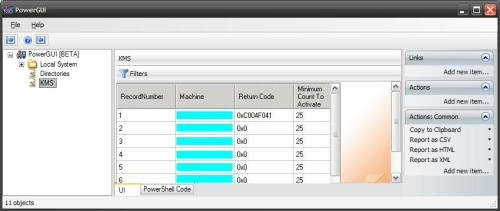 KMS Management & Reporting in PowerGUI
