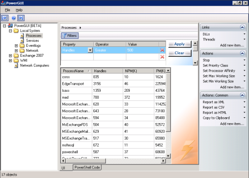 PowerGUI screenshot with Windows processes