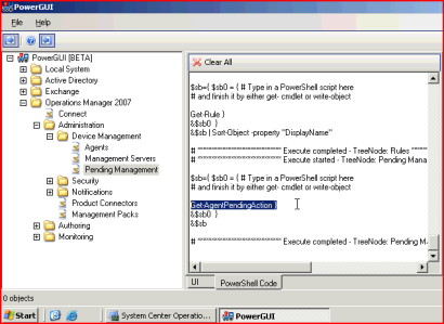 PowerShell code behind the OpsManager management operations