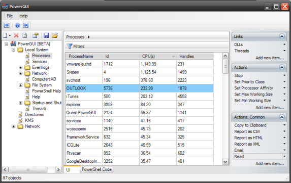 Processes window in PowerGUI