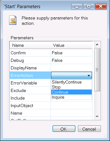 Drop-down list for ErrorAction parameter