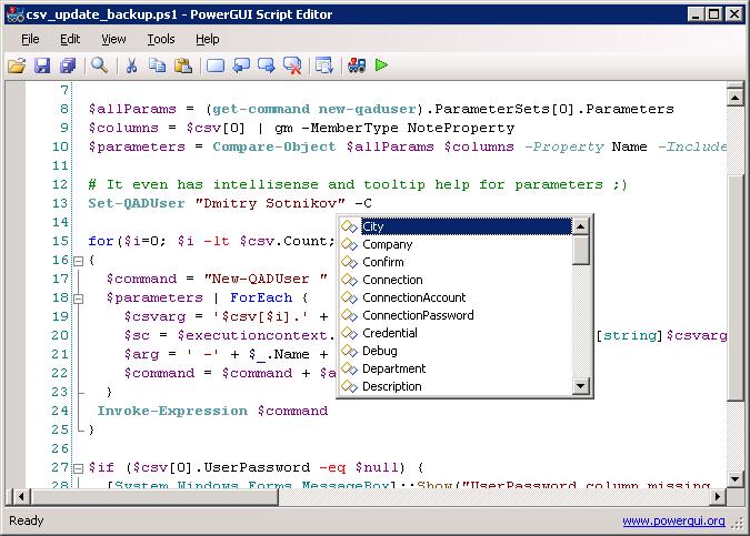 powergui script editor