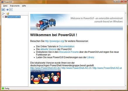 PowerGUI Welcome Screen in German