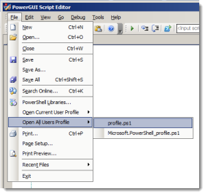 Use PowerGUI to Find, View, Edit or Create PowerShell profile