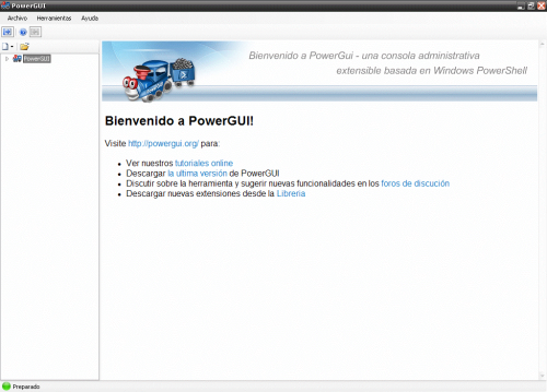 PowerGUI welcome screen in Spanish