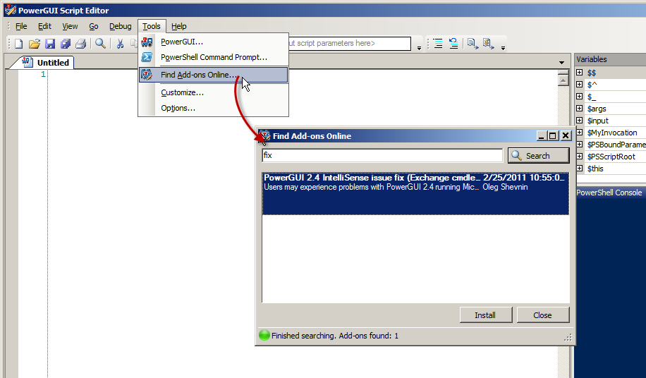 how to install powershell ise add ons