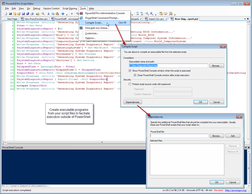 Compile PowerShell scripts to exe | Dmitry's Blog: Cloud, PowerShell