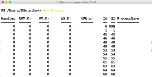 Get-Process powershell command on Mac OS X
