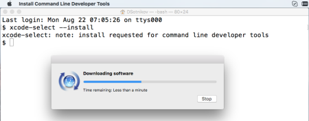 Install Mac OS command-line developer tools xcode