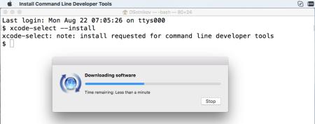 Install Mac OS command-line developer tools xcode