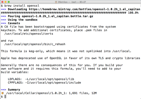 Install openssl on Mac OS X with homebrew