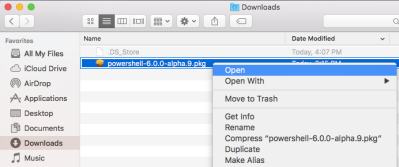 Install PowerShell pkg on Mac OS X