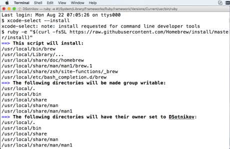 Installing Homebrew Mac OS package manager