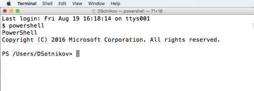 Starting PowerShell prompt on Mac OS X in bash Terminal